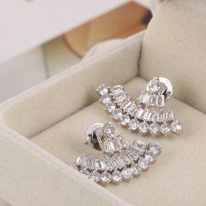 Henri Bendel Scalloped Zircon Silver Stud Earrings